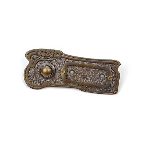 Antik Türklingel, A9171, aus Messing, dunkel patiniert, mit Klingelplatte und Klingeltaster - handgefertigt nach antiken Vorlagen