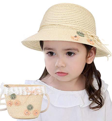 Lachi Sombrero de Paja Niña Gorra de Sol Chica + Bolsillo Set Gorro de Playa Niñas Anti UV Protección Solar Alas Anchas Transpirable para Viaje Beach Piscina al Aire Libre 3-7 años.