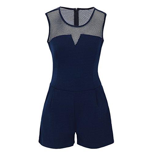 Laeticia Dreams dames overall jumpsuit Catsuit één stuk kort mouwloos net S M L XL