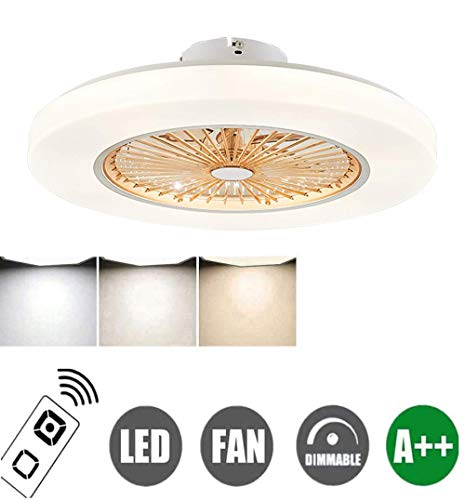 N / A Fan Ceiling Fan Led Light, Adjustable Wind Speed, Dimmable with Remote Control, 72W Modern Led Ceiling Lamp Decoration Lighting for Bedroom Living Room Dining Room,Blue,Brown