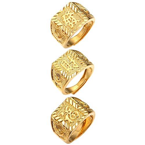 JewelryWe Kanji - Juego de 3 anillos de oro auténtico para hombre, de 18 quilates y 18 quilates, color dorado y dorado, de gran fortuna, talla ajustable, regalo