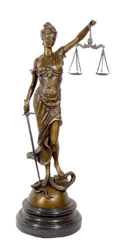 Kunst & Ambiente - Große Justitia Bronze Skulptur mit Schwert + Waage - signiert Milo - 100% Bronze - Justitia Figur - Griechische Skulptur Göttin