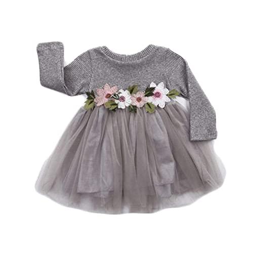 Geagodelia - Gonna a tutù per neonata, a maniche lunghe, elegante, con decorazione floreale, tinta unita, colore rosa, per festa di compleanno, principessa, Grigio, 9-18 Mesi