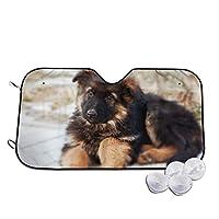 ジャーマンシェパードの子犬 車用サンシェード カーフロントカバー フロントガラス 日よけ Uvカット 遮光 断熱 折り畳み式 簡単取付 S