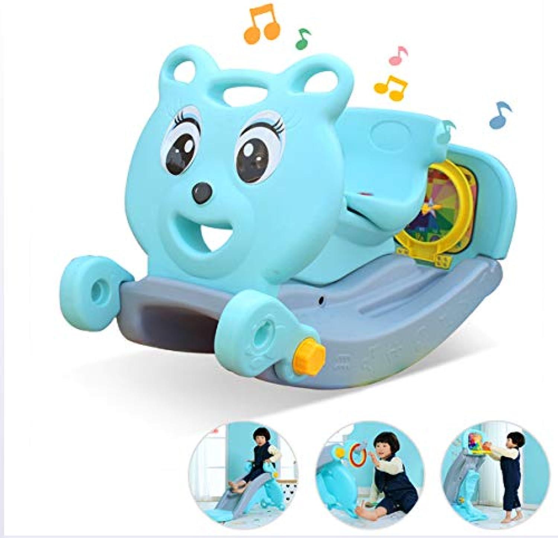 JTYX Zwei in einem Kinder Schaukelpferd Rutsche mit Korb Indoor Baby Spielzeug Kinder Schaukelstuhl Trojan Geburtstagsgeschenk
