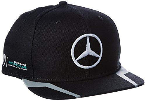 Mercedes AMG Petronas Hombre Mercedes AMG Hamilton Flat Cap 2016Black Tapa, Negro, One Size