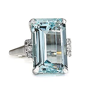 Xinantime Jewelry Woman's Wedding Ring for Women Anniversary Promise Engagement Simulated Diamond (10, Blue)