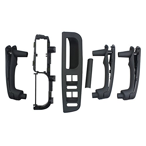 Folconroad 1 juego 6 piezas Soporte de cubierta de manija de puerta interior negro Ajuste de bisel de agarre para Jetta Golf MK4 OEM# 3B1867171E 1J1867179A 3B0867175