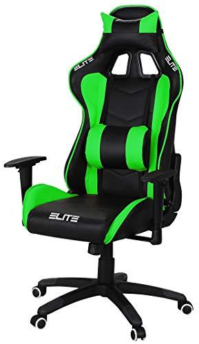 ELITE Racing Gaming Stuhl MG-200 - Bürostuhl – Kunstleder - Ergonomisch - Racer – Drehstuhl – Chair – Chefsessel – Schreibtischstuhl (Schwarz/Grün)