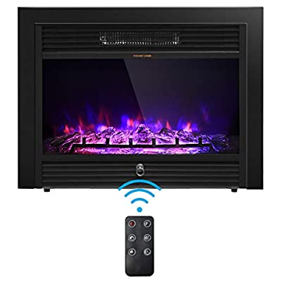 COSTWAY Electric Fireplace 28.5-Inch Wide, 750W/1500W Wall Recessed and Freestanding Fireplace with 3 Flame Colors, 5 Brightness Settings, 8 H Timer, Remote Control, Fireplace Heater for Indoor Use