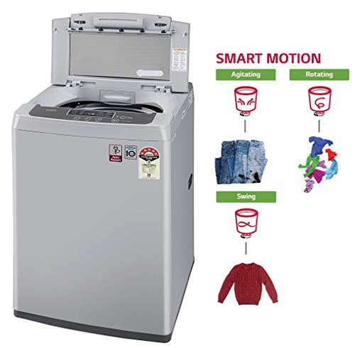 LG 6.5 Kg 5 Star Smart Inverter Fully-Automatic Top Loading Washing Machine (T65SKSF4Z, Middle Free Silver) 5