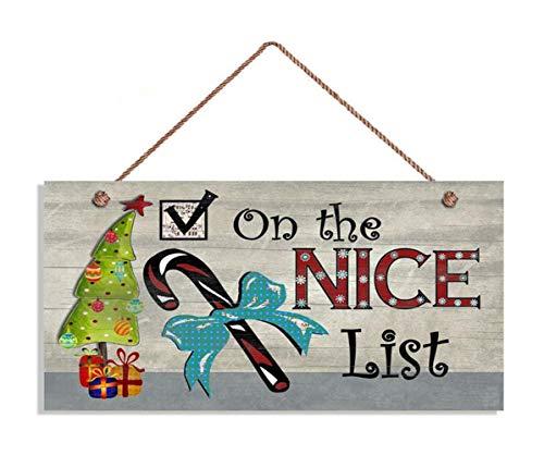 """MAIYUAN Christmas Sign, On The Nice List, Christmas Tree and Presents, 6"""" x 12"""" Sign, Great Gift, Santa's Nice List(E1-WH6146)"""