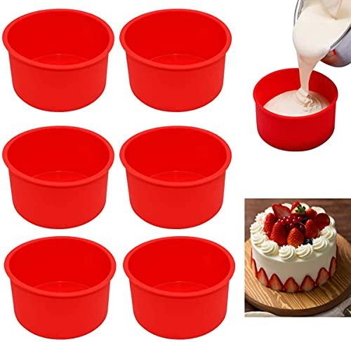 6 Pieces Reusable Round Silicone Cake Mold Baking Set, Non-Stick Bakeware Pan for Birthday, Wedding Anniversary, Halloween, Christmas Party Cake Baking(4 Inch)
