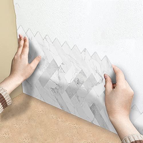 azulejos adhesivos cocina,14 piezas de adhesivos para azulejos de cocina, adhesivos decorativos para azulejos de pared de mármol blanco en espiga