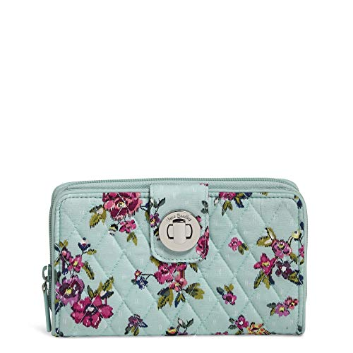 Vera Bradley Signature Cotton Turnlock Wallet with RFID Protection, Water Bouquet