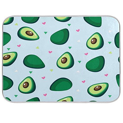 OOWOW Abtropfmatte, niedliche Avocado-Liebe, geometrisches Muster, saugfähig, Abtropfmatte, wendbar und waschbar, Abtropfmatte für Küche, Arbeitsplatte, Glasplatte, Pfanne, 40,6 x 45,7 cm