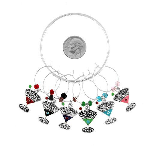 Wine Charms ~ Margaritas Glass Wine Glass Charms Set of 6 (Style Wine Charm 053a 20)