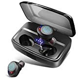 Wireless Headphones Bluetooth Earphones IPX8 Waterproof Deep Bass Stereo Sound Earphones with Microphones 100H...