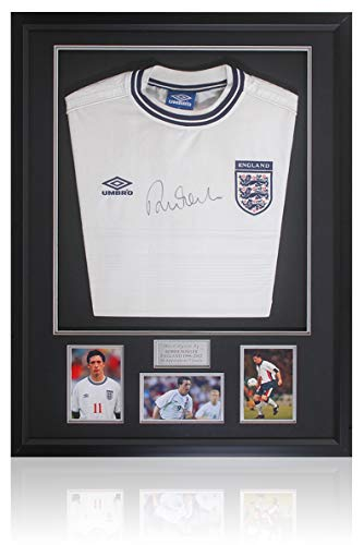 Robbie Fowler Hand Signed England Football Retro Shirt AFTAL Photo COA