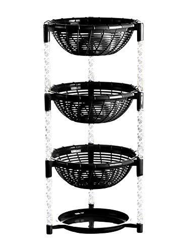 Uncluttered Designs Stapeln von Korbbehältern (3 Schichten + Teller) für Obst, Produkte, Küchenschrank, Speisekammer, Schrank, Schlafzimmer, Organisation und Lagerung des Badezimmers (Schwarz)