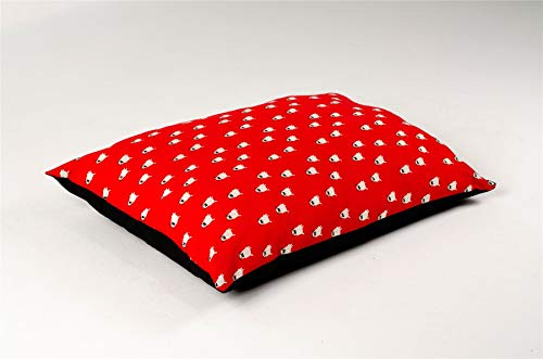 SleepyNights Large Pet Dog Bed Zipped Removable Cover & Washable Cushion – Red Pug