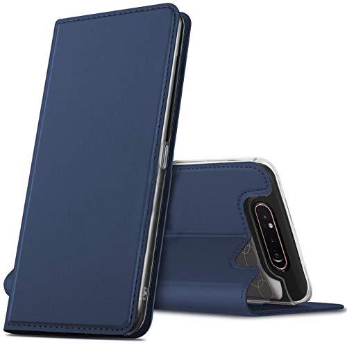Verco Funda para Samsung Galaxy A80 PU Cuero Flip Folio Carcasa Soporte Plegable Ranuras para Tarjetas para teléfono móvil Galaxy A80 Cubierta, Azul Marino