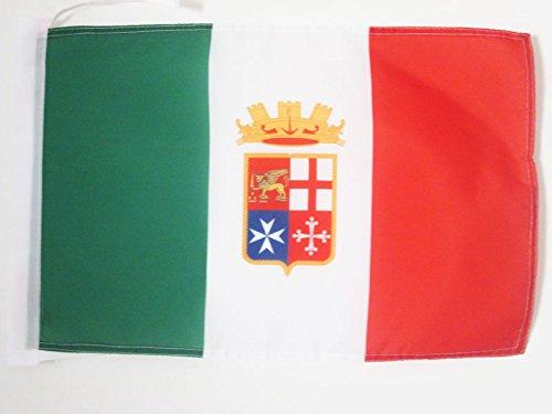 AZ FLAG Bandiera Italia Marina Militare 45x30cm - BANDIERINA Italiana NAVALE 30 x 45 cm cordicelle