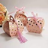 Amajoy Lot de 50 boîtes à dragées de mariage avec pompons et pois dorés