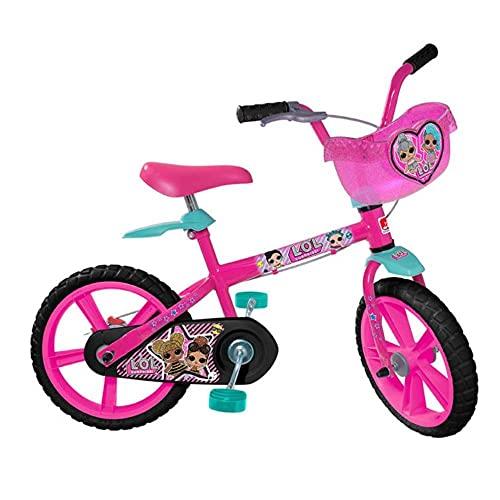 """Bicicleta Aro 14"""" LOL, Bandeirante, Rosa"""