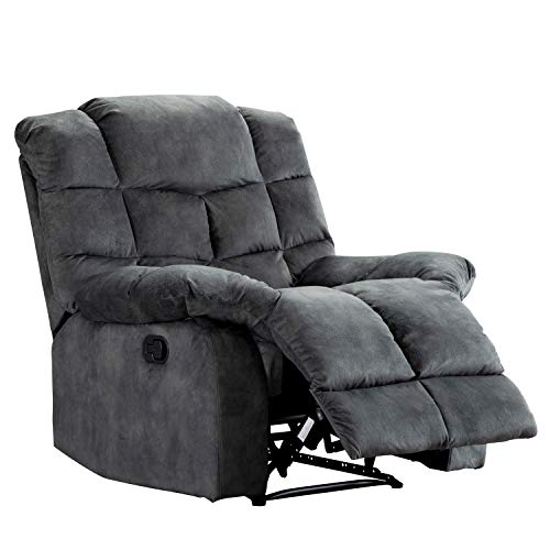 Harper&Bright Designs Manual Recliner Chair Lazy Boy Sofa, Ergonomic Design with Overstuffed Cushions for Living Room or Bedroom, Dark Grey