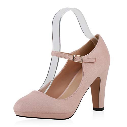 SCARPE VITA Damen Pumps Mary Janes Veloursleder-Optik High Heels Blockabsatz 160330 Rosa 37