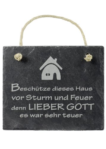 Schiefer Schild Beschütze dieses Haus vor Sturm und Feuer... Haussegen