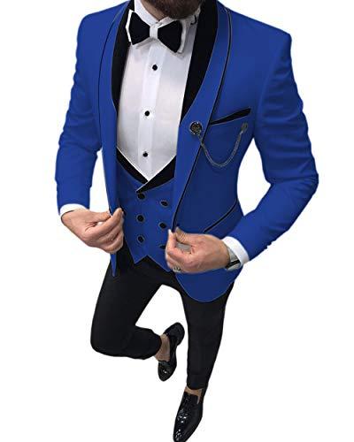 Traje formal para hombre de 3 piezas para hombre, de ajuste delgado, con solapa, esmoquin para novios de boda (lazer, chaleco y pantalón) Azul azul real Talla Modificado Para Requisitos Particulares