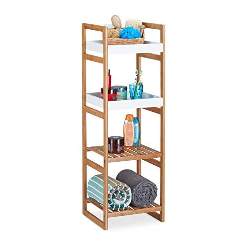 Relaxdays Standregal mit 4 Fächern, offenes Küchenregal aus Bambus, Badezimmerregal HBT: 110x36x33 cm, Holz-Optik, weiß