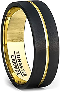 Duke Collections 8mm Black Tungsten Rings for Men Two Tone Durable Mens Wedding Bands in Tungsten Carbide Ring with Rose Gold Center Groove Flat Edge Comfort Fit