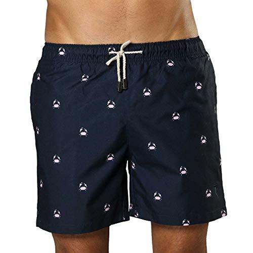 Zwembroek Heren Donkerblauw met Krabbetjes Print | Sanwin Beachwear