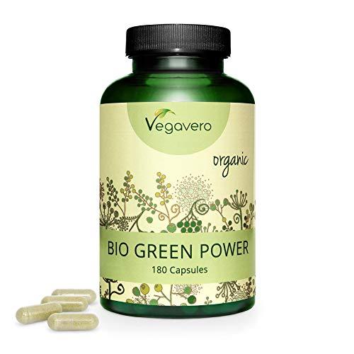 Herbe de Blé BIO + Herbe d'Orge BIO Vegavero® | 180 Gélules | Superfood Riche en Protéines Vegan + Acides Aminés + Chlorophylle | VEGAN