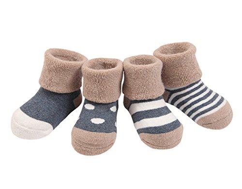 4 Pares Bebé Calcetines Algodón 12-36 Meses Cómodo Grueso Calcetin Niños Niñas Largo Invierno Caliente Azul marino