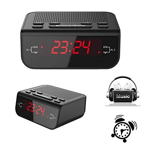 ZJchao Reloj Despertador Digital con LED Pantalla (Fácil de Leer, Batería de Reserva, Radio Am/FM, Función del Sueño y Snooze)
