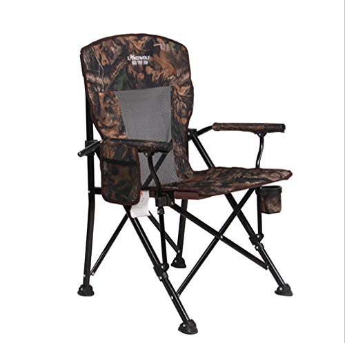 LOO LA Tragbarer Campingstuhl-Oxford Cloth Fishing Chair, Hose 150 Kg Angelstühle mit Armlehne Mesh Pocket,Camouflage