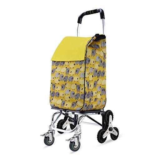 Z-SEAT Einkaufswagen zusammenklappbar 8 Räder Treppensteigwagen mit zusammenklappbarem Design, älterer Luft- und Raumfahrt-Aluminiumwagen, Last 50 kg