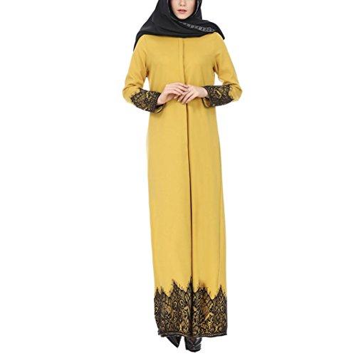 DEELIN Ajuste del CordóN De La Mujer Musulmana Abaya MusulmáN Maxi Kaftan Vestido del Kimono (XL, Amarillo)