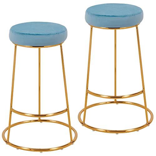 2x Sgabelli da bar tessuto velluto rotondo piedini in metallo altezza 67 cm selezione colore Duhome 5160H-9, colore:blu chiaro, materiale:velluto