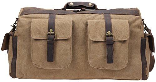 IBLUE Oversized Canvas Travel Duffel Bag Leather Trim Weekender Tote Carryon Overnight Bag Shoulder Bag