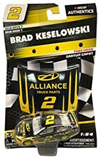 2018 Wave 7 Edition NASCAR Authentics Brad Keselowski #2 Alliance Truck Parts 1/64 Scale Diecast NASCAR Authentics with Replica Mini Plastic Hood