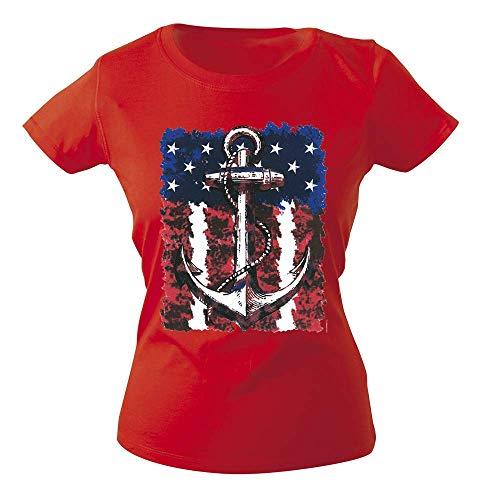 Fan-O-Menal Textilien Camiseta Chica con Impresión Marítimo Ancla G12128 Talla XS-2XL - Rojo, XXL