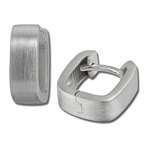 SilberDream Ohrringe 11mm Damen-Schmuck 925er Silber Creolen Eckig SDO347M