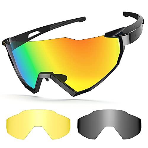 Sportbrillen Fahrrad, Unisex Polarisierte Brillen, UV400 Cycling Sunglasses, 2 Wechselgläser Radbrillen fahrradbrille herren für Outdoor Sport Radfahren, Motorradfahren, Laufen, Angeln, Golf (Schwarz)