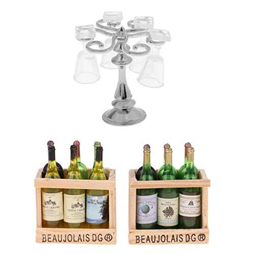 perfeclan Botellas de Bebida de Cerveza de Vino en Miniatura con Caja de Almacenamiento Y Soporte de Taza de Metal Plateado con Kits de Copas para Decoración de