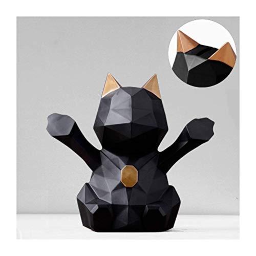 Bancos de dinero geométrico tridimensional tridimensional afortunado alcancía hecha a mano resina gato alcancía bandera de escritorio decoración de escritorio regalos caja caja de dinero bancos de din